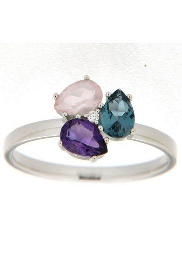 Vivance jewels Diamantring, mit Brillant, Amethyst, Blautopas und Rosenquarz