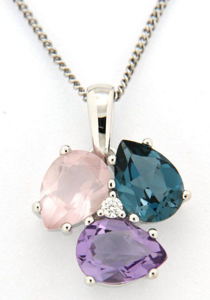 Damen Vivance jewels  Kettenanhänger mit Brillant Amethyst Blautopas und Rosenquarz    04041633037427