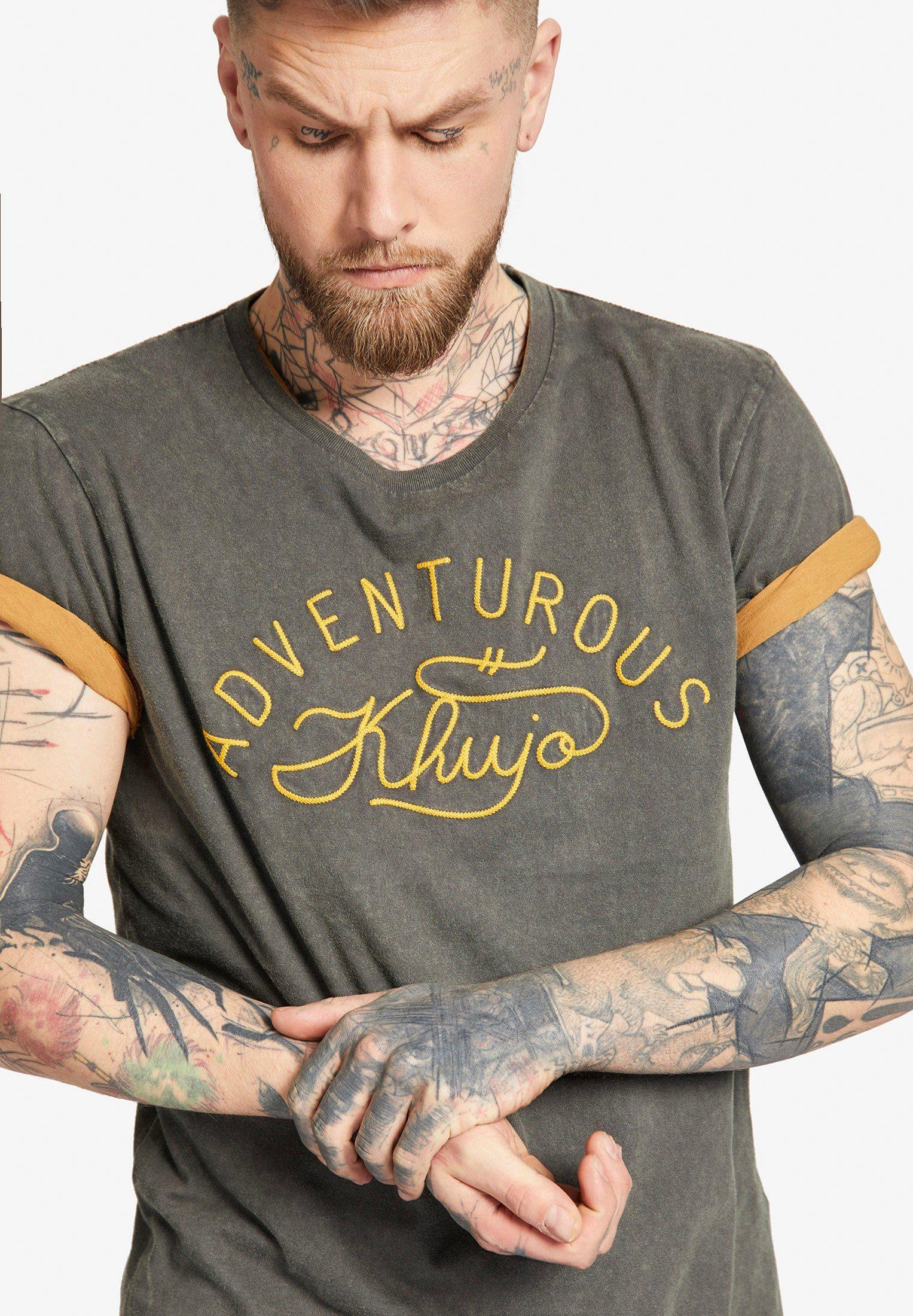 khujo T-Shirt »TOVER« mit Logostickerei