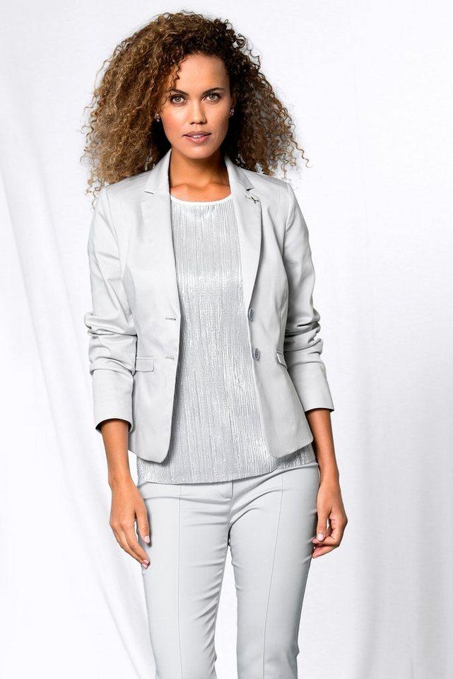 bianca Jackenblazer »ZOE« Sommerlicher Blazer aus satinierter Baumwolle   Bekleidung > Blazer > Jackenblazer   Grau   bianca