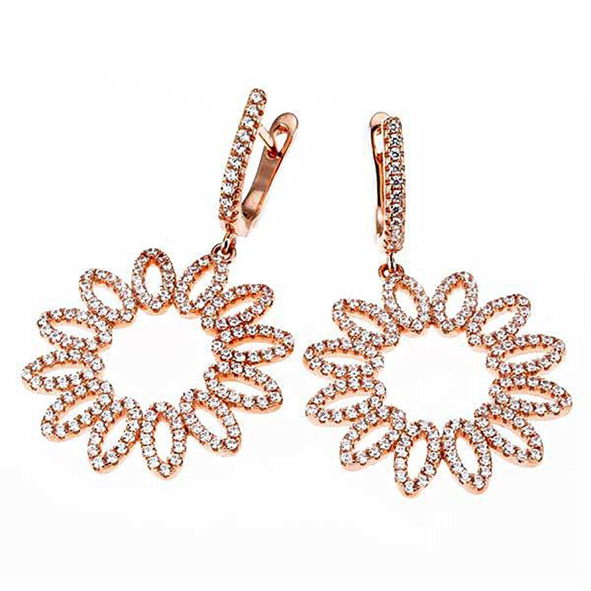 goldmaid Paar Ohrhänger Blume 925/- Silber 308 Zirkonia