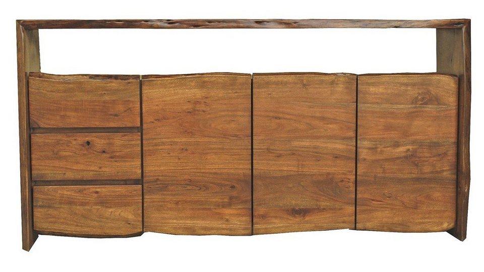 Sideboard holz  Kasper-Wohndesign Sideboard groß Akazie Massiv-Holz Baumkante »Live ...