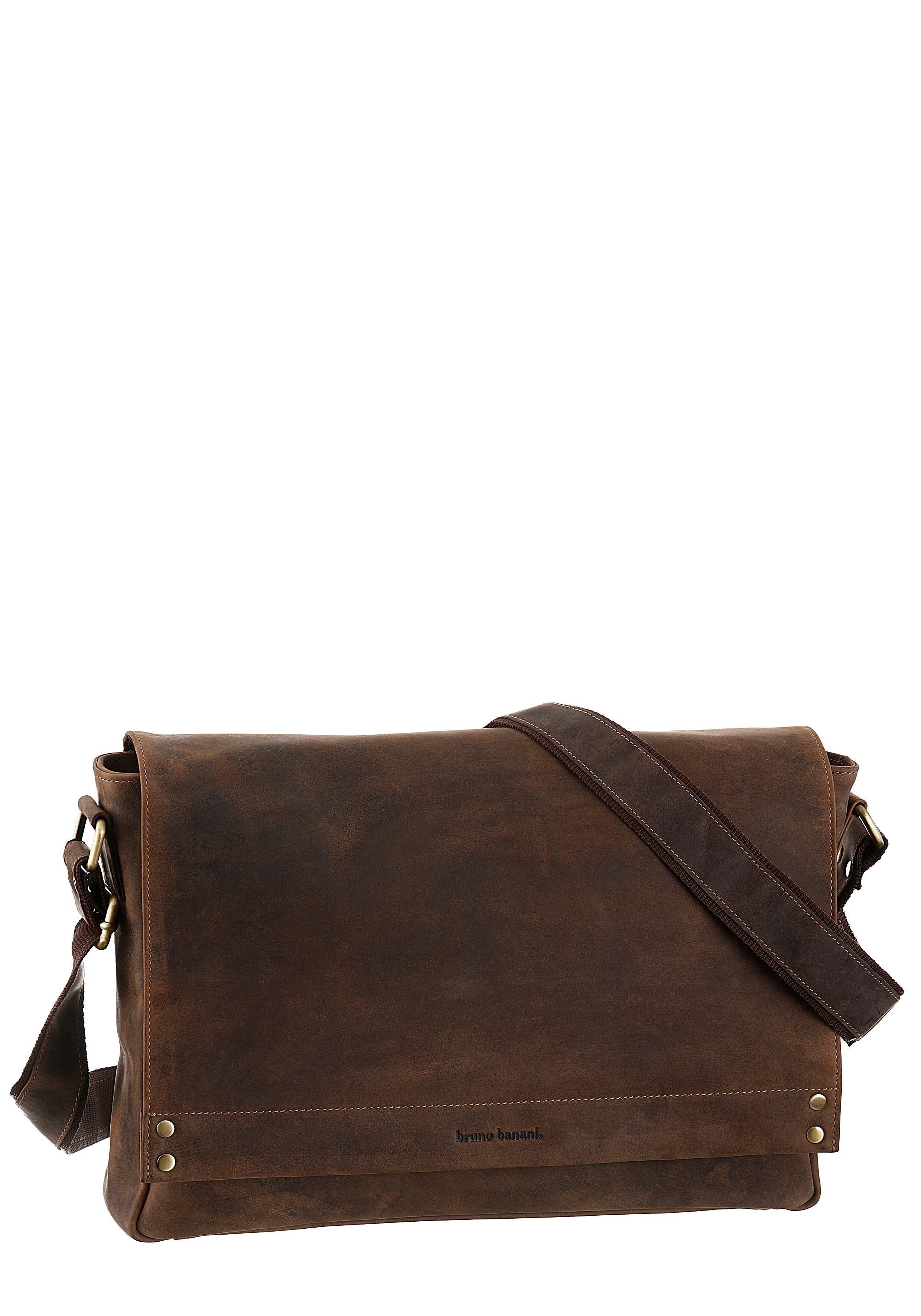 Bruno Banani Messenger Bag, in gepflegter Used Optik mit gepolstertem Laptoptfach