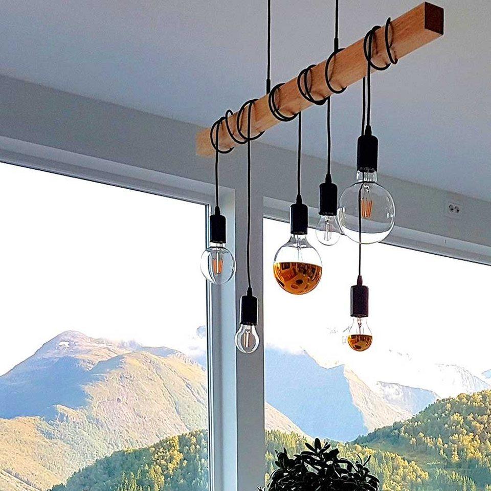 Licht-Trend Pendelleuchte »Arbor mit Holzbalken 6-flammig Schwarz ...