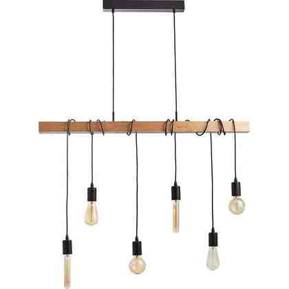 Licht-Trend Pendelleuchte »Arbor mit Holzbalken 6-flammig Schwarz«