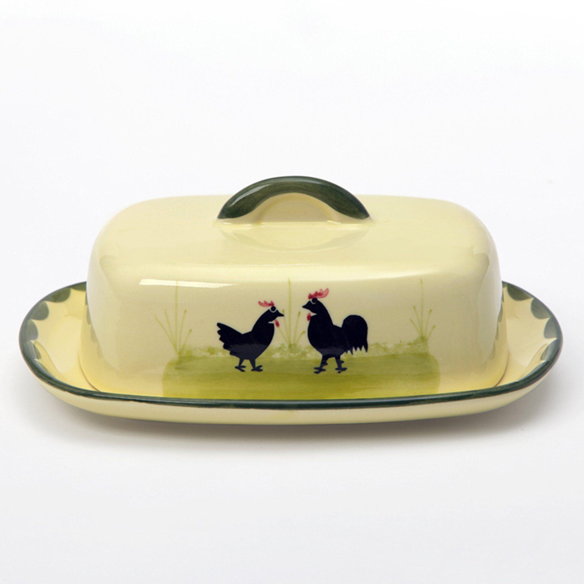Zeller Keramik Butterdose mit Knauf »Hahn und Henne«