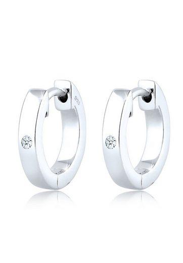 Diamore Paar Creolen »Creole Diamant (0.04 ct) Geschenkidee Silber«