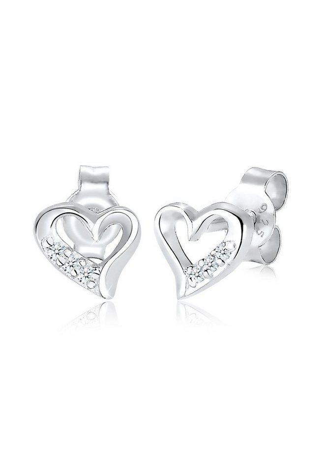 1cc23ebf0f4e Diamore Paar Ohrstecker »Herz Liebe Diamant (0.06 ct) 925 Silber ...