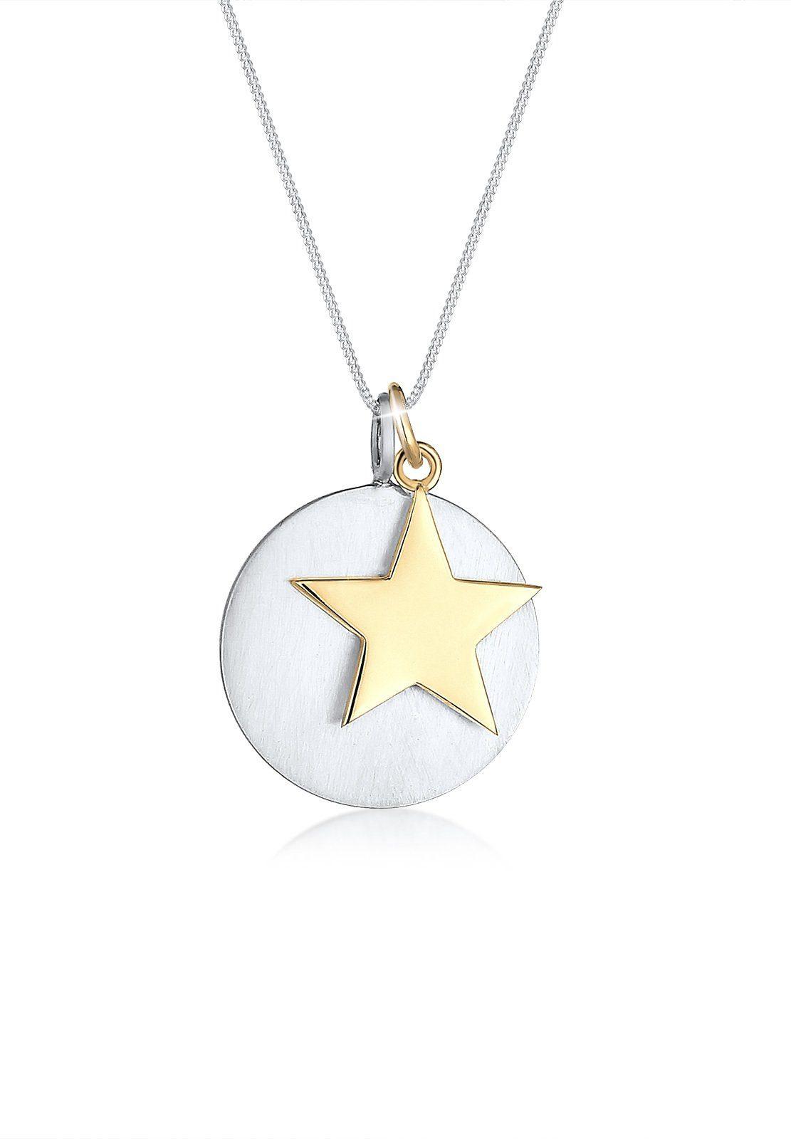 Elli Collierkettchen »Stern Kreis Anhänger Matt Bi-Color 925er Silber«