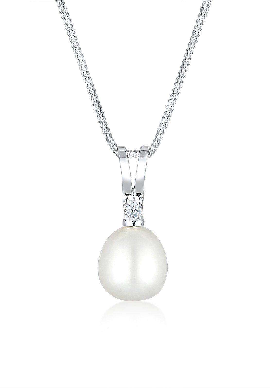 Diamore Collierkettchen »Süßwasserzuchtperle Diamant 925 Sterling Silber«