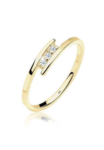 Diamore Verlobungsring »Verlobungsring Trio Diamant 0.045 ct. 375 Gelbgold«