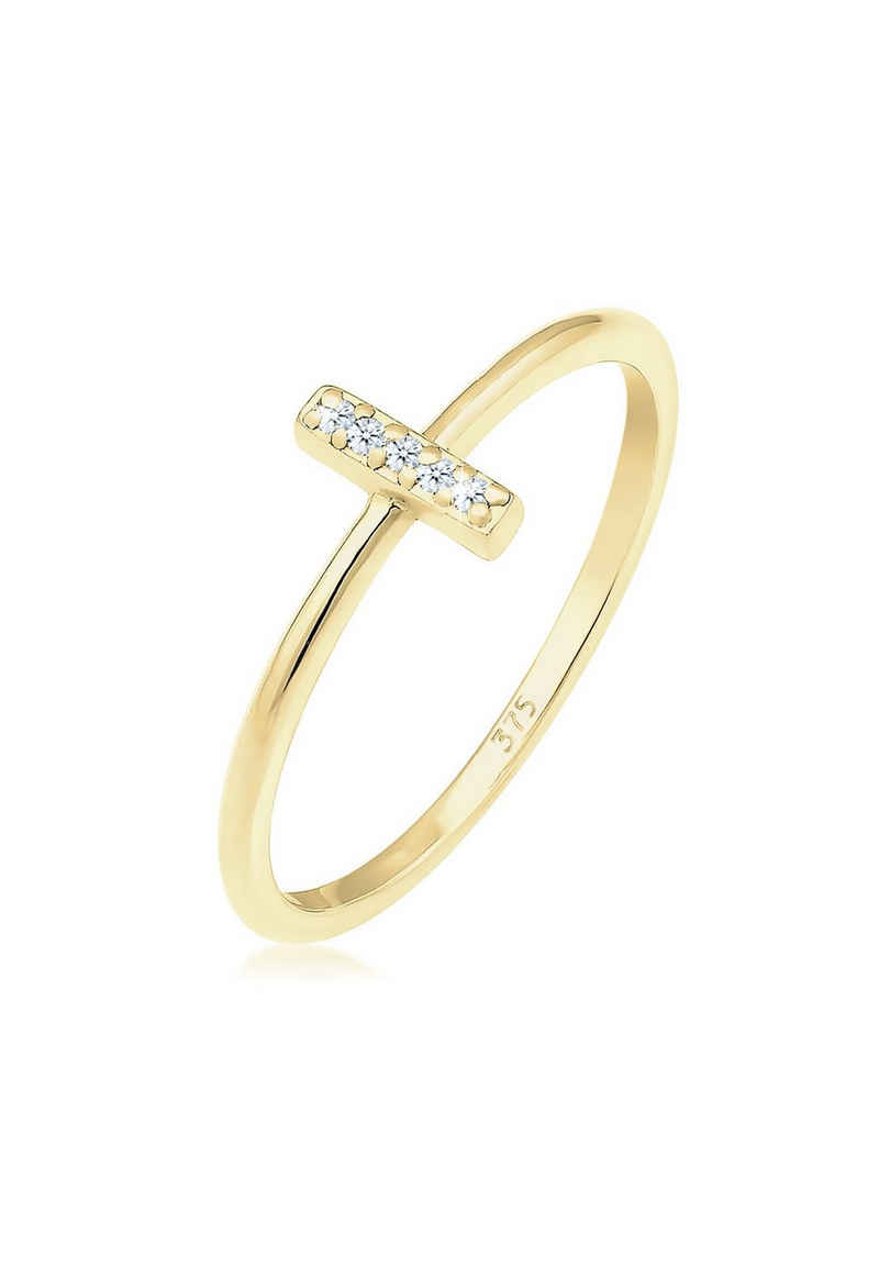 Elli Diamantring »Kreuz Symbol Geo Diamant (0.025 ct) 375 Gelbgold«