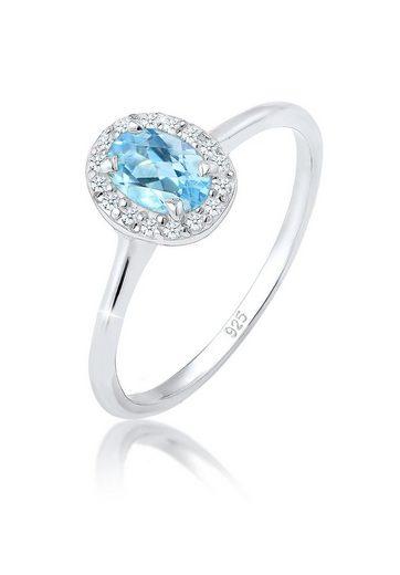 Elli Diamantring »Verlobungsring Topas Diamant (0.08 ct) 925 Silber«