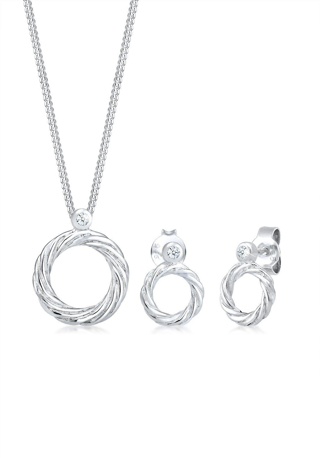 Diamore Ohrring und Ketten Set »Set: Twisted Liebe Diamant (0.06ct) 925 Sterling Silber« (Set, 2 tlg)