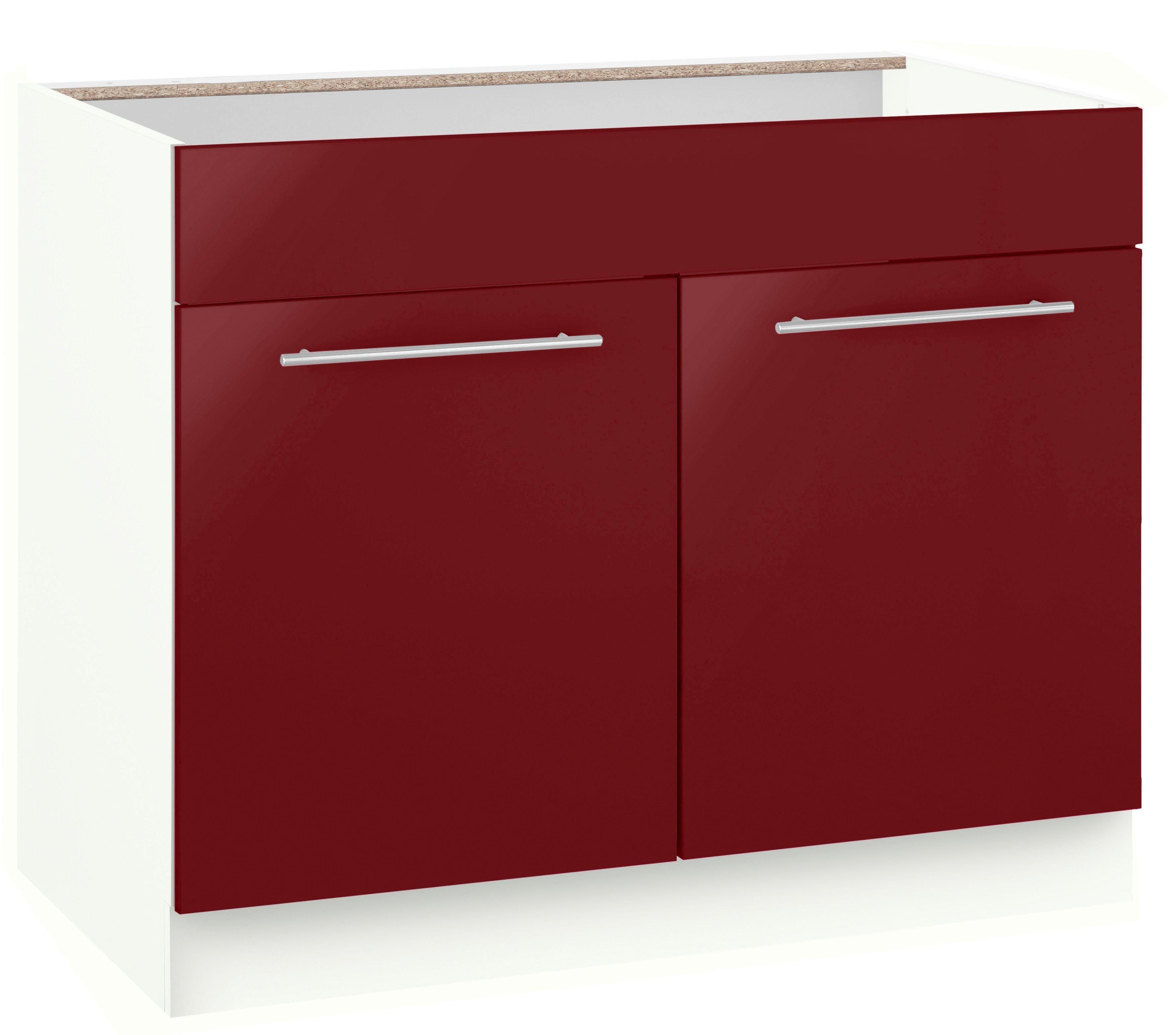 WIHO-Küchen Spülenschrank »Flexi2«, Breite 100 cm | Küche und Esszimmer > Küchenschränke > Spülenschränke | Weiß - Rot - Glanz | Melamin | wiho Küchen