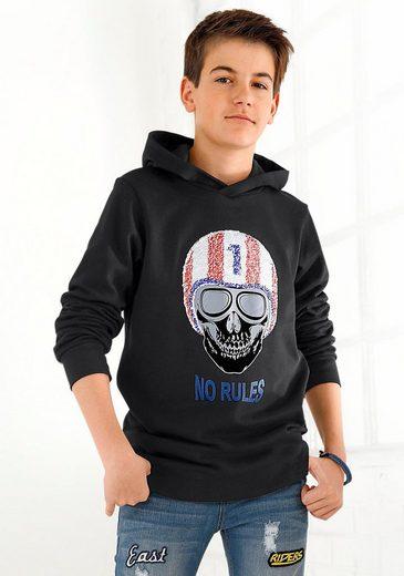Arizona Kapuzensweatshirt mit Wendepailletten =2 unterschiedliche Motive