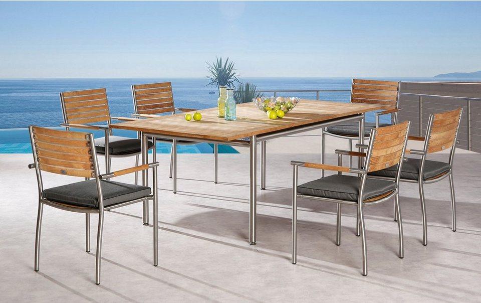 Best Gartenmöbelset Murano 13 Tlg 6 Stapelsessel Tisch 100x160