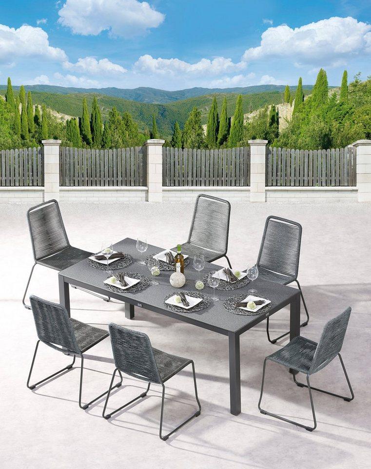 Best Gartenmobelset Symi Livorno 7 Tlg 6 Stapelsessel Tisch