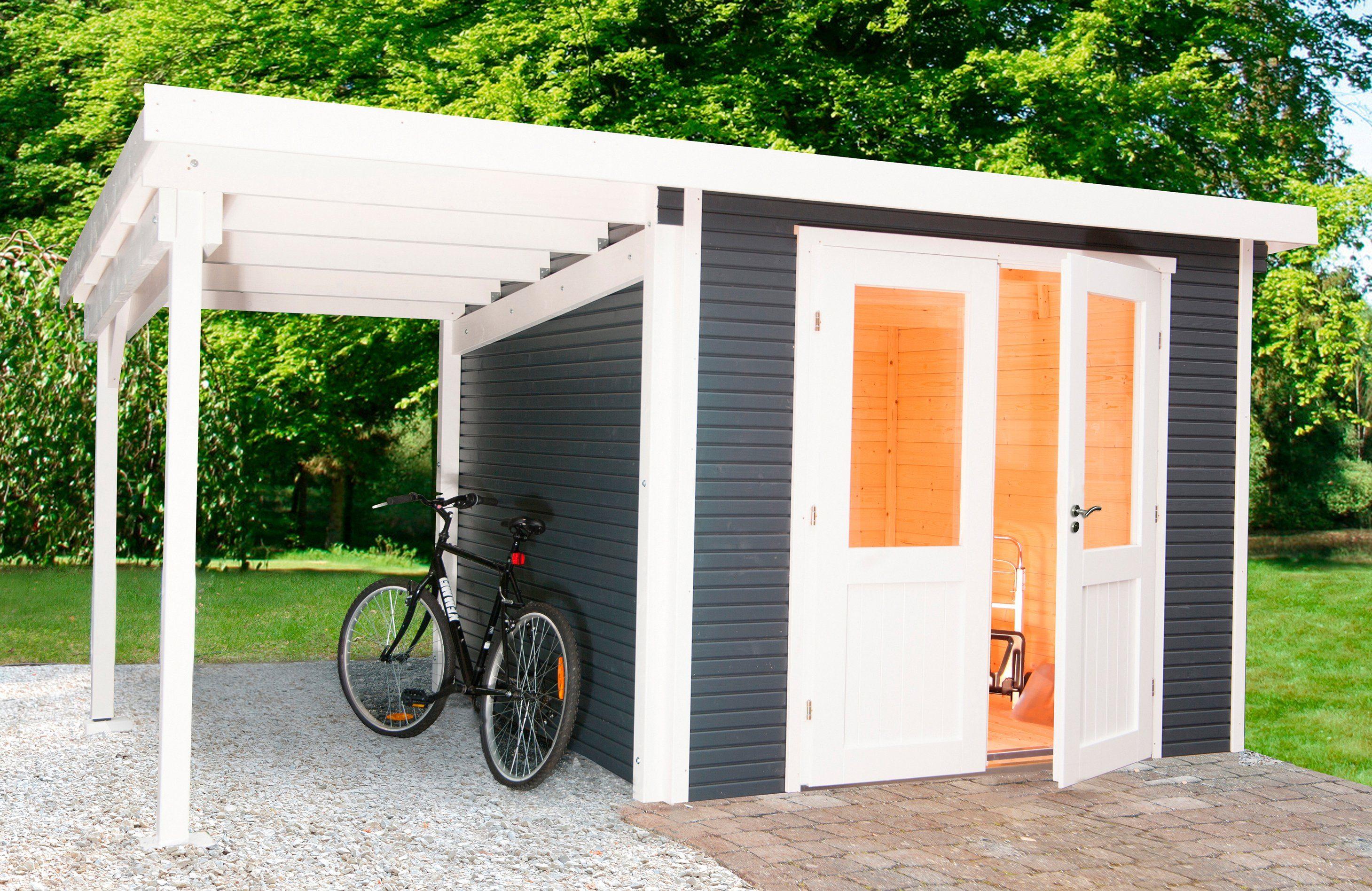 WOLFF Set: Gartenhaus »Pulti Softline 3030«, BxT: 615x342 cm, mit seitlichem Anbau, anthrazit