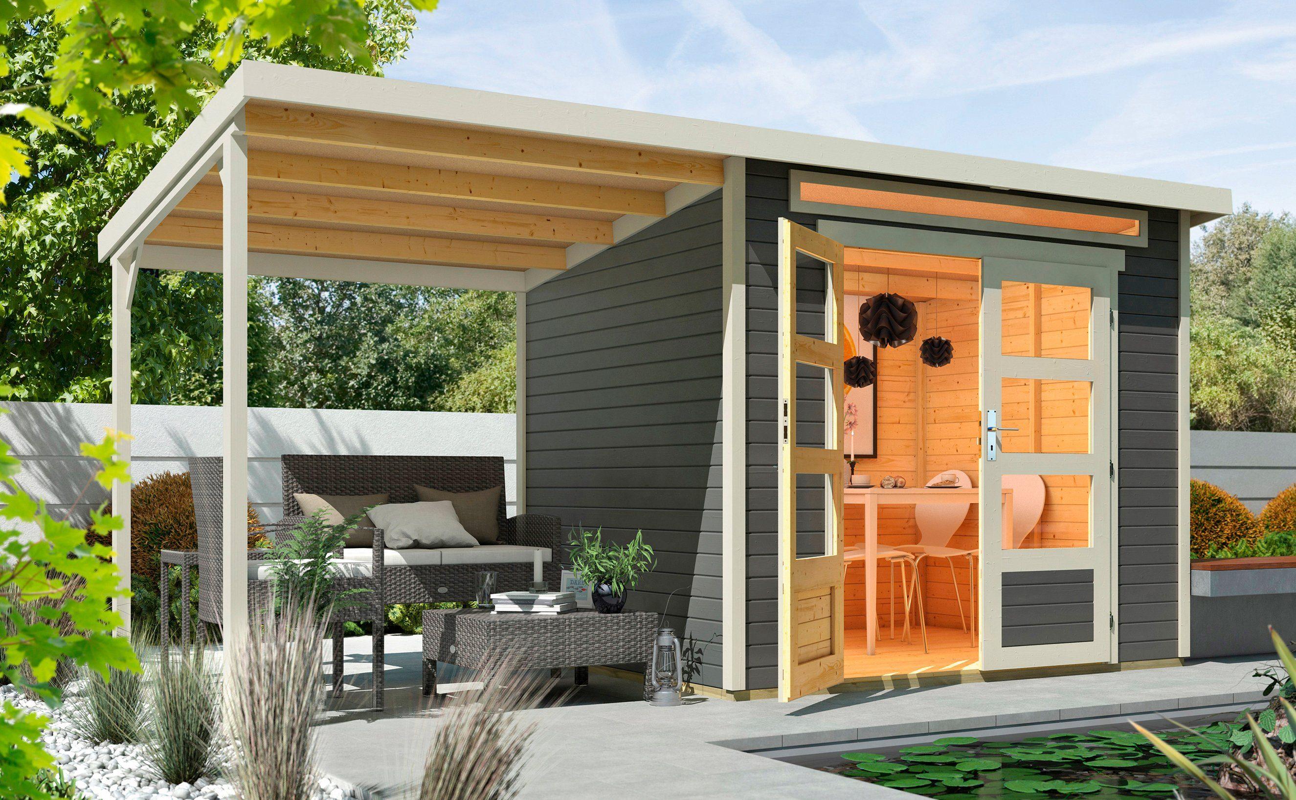 WOLFF Set: Gartenhaus »Venlo A«, BxT: 441x236 cm, inkl. Anbaubdach