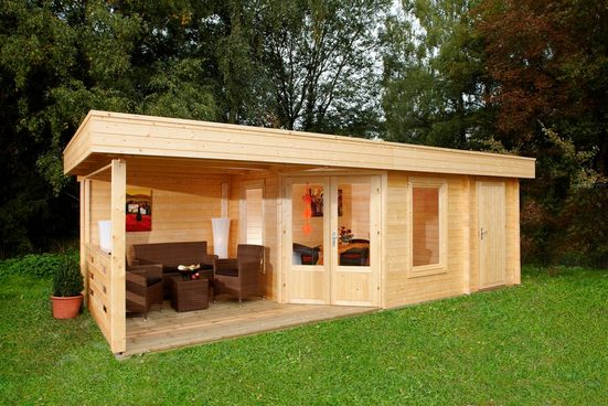 WOLFF FINNHAUS Set: Gartenhaus »Maja 40-B/2«, BxT: 853x349 cm, Fußboden, Anbaudach mit Rückwand, 2 Räume