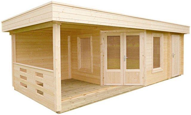 WOLFF FINNHAUS Set: Gartenhaus »Maja 40-B/2«, BxT: 753x349 cm, Fußboden, Anbaudach mit Rückwand, 2 Räume | Garten > Bodenbeläge-Garten | Wolff