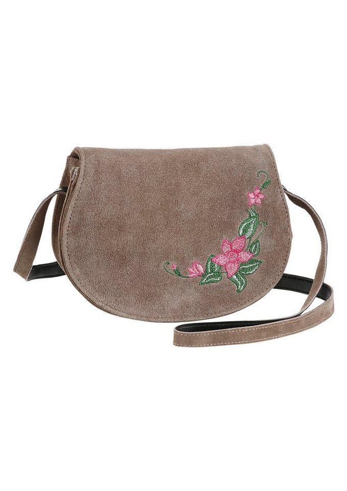 Damen KABE Leder-Accessoires Trachtentasche mit Stickerei braun | 04260326750454