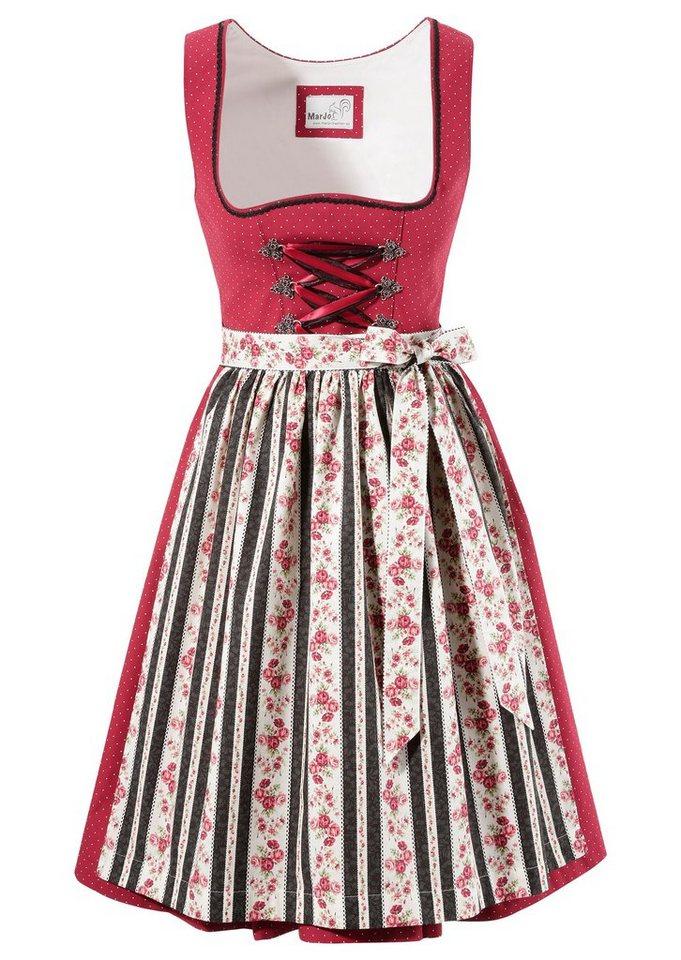 Damen MarJo  Dirndl kurz mit dekorativer Schnürung rot | 04058057236909