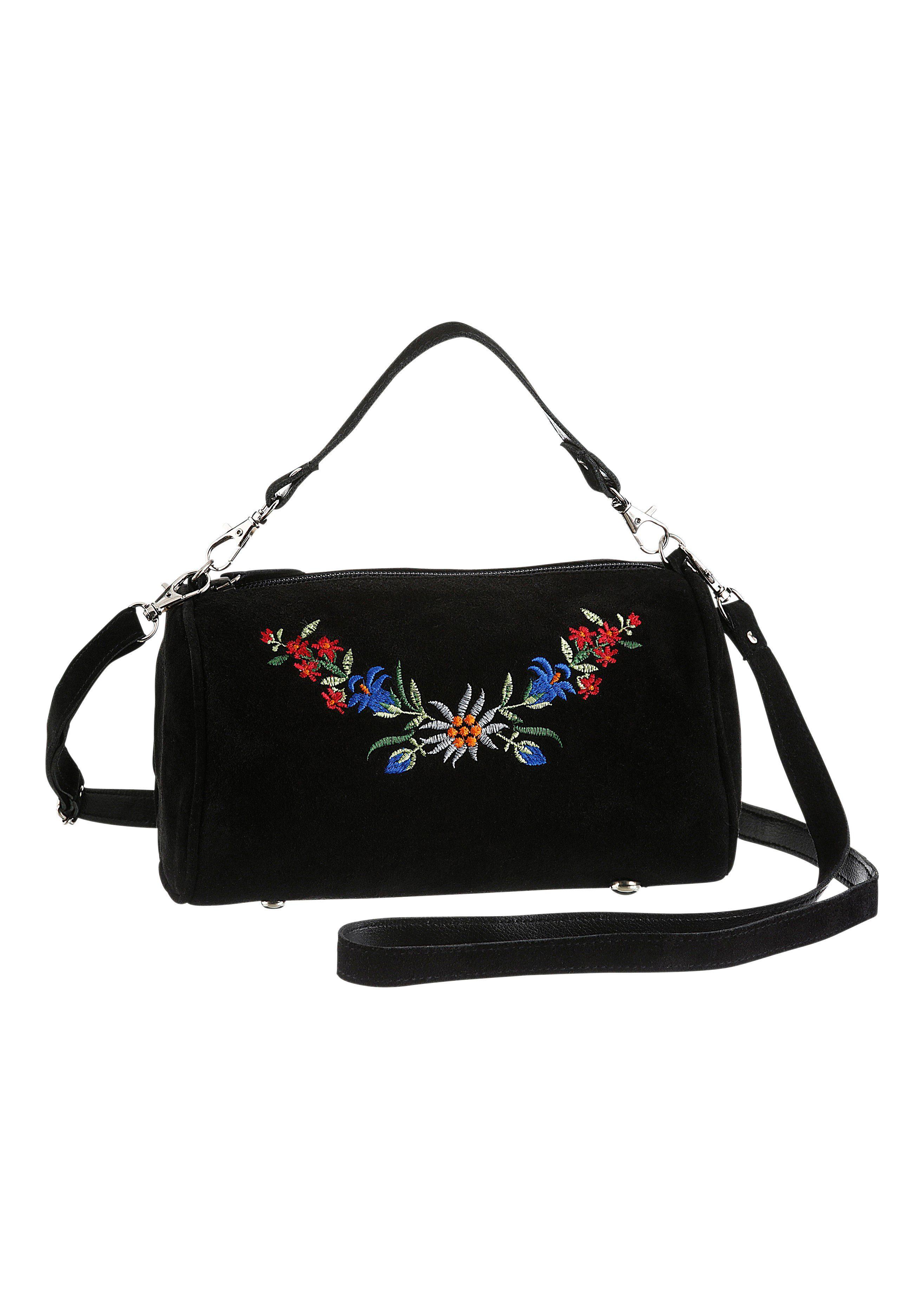 KABE Leder-Accessoires Trachtentasche mit Blumenstickerei