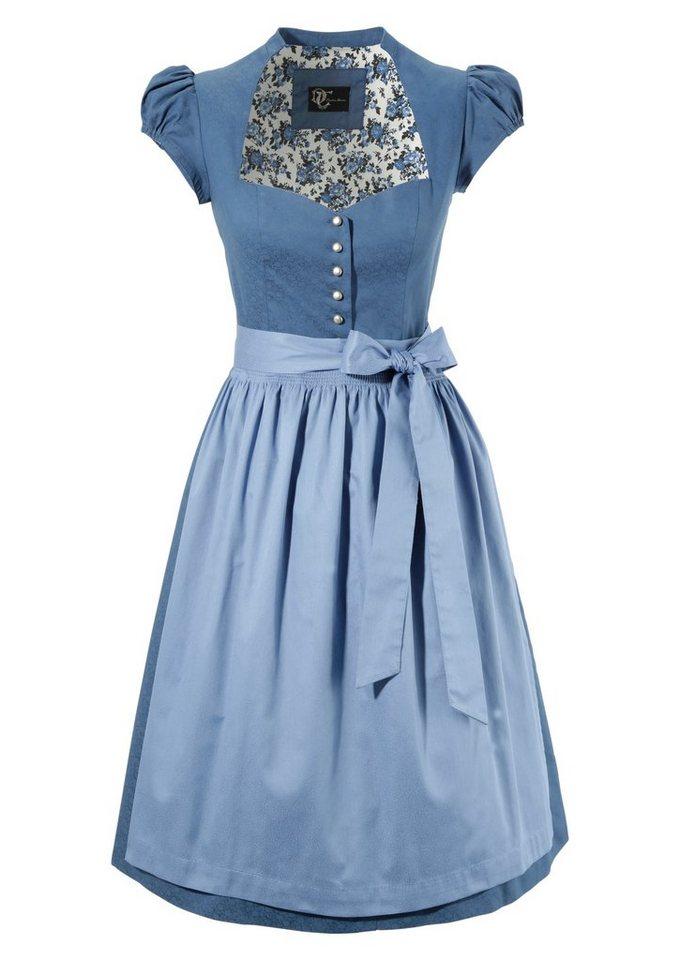 Damen Turi Landhaus  Dirndl midi mit Stehkragen blau | 04012043538965