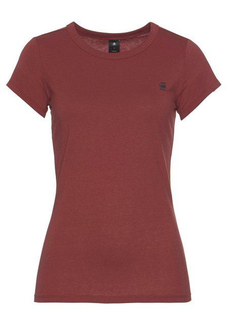 Damen G-Star RAW Rundhalsshirt Eyben slim r t wmn s s mit kleinem Logodruck vorne rot | 08719369849633
