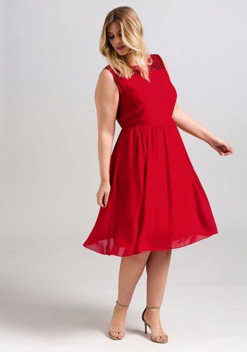 Damen sheego Style Chiffonkleid rot | 04054697892758