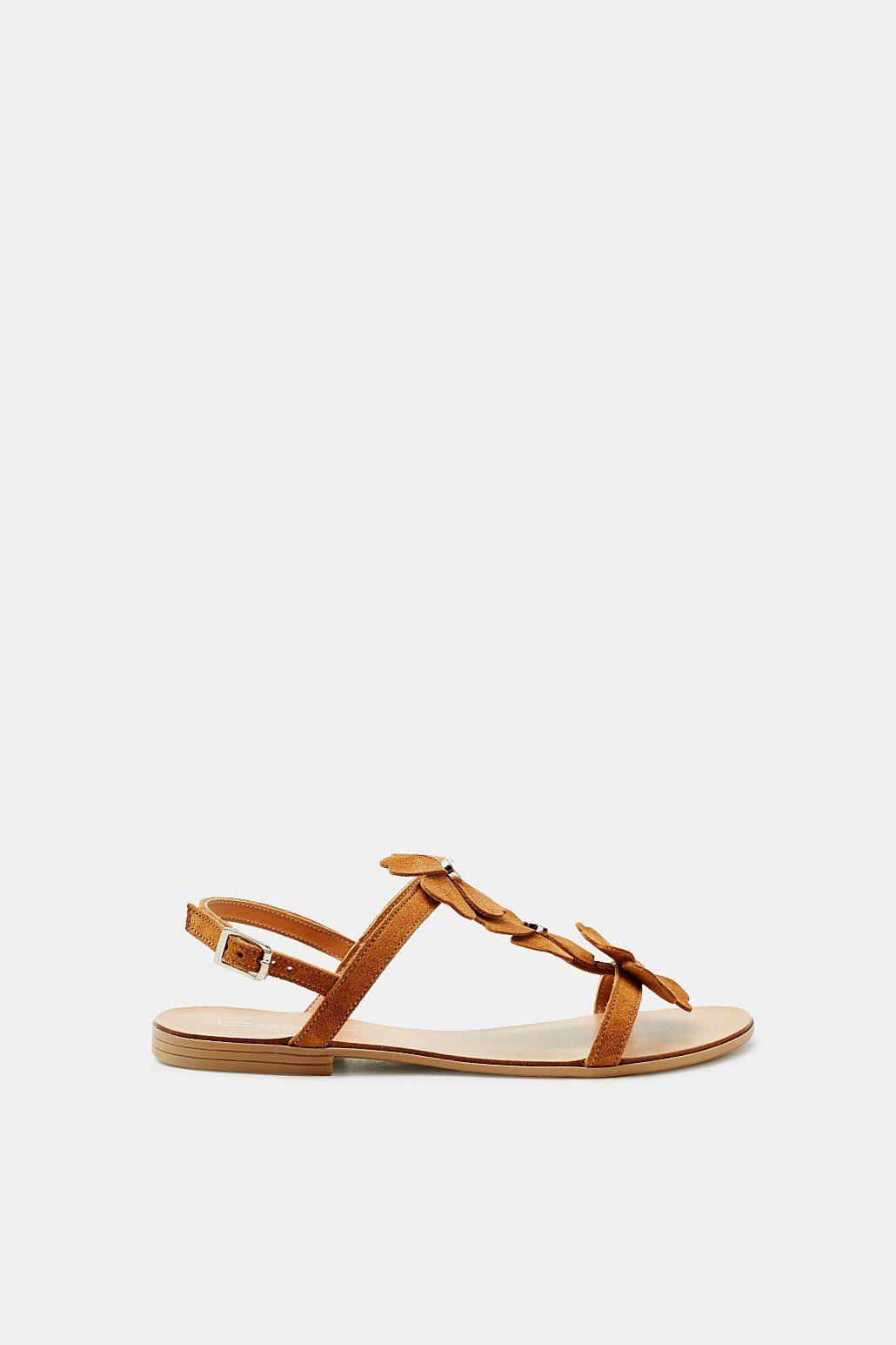 ESPRIT Flache Sandale mit Kleeblatt-Besatz, aus Leder online kaufen  CAMEL
