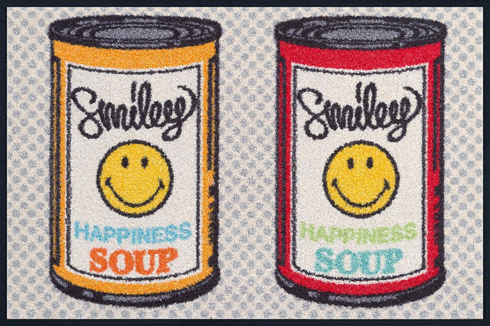 Fußmatte »Smiley Happiness Soup«, wash+dry by Kleen-Tex, rechteckig, Höhe 7 mm