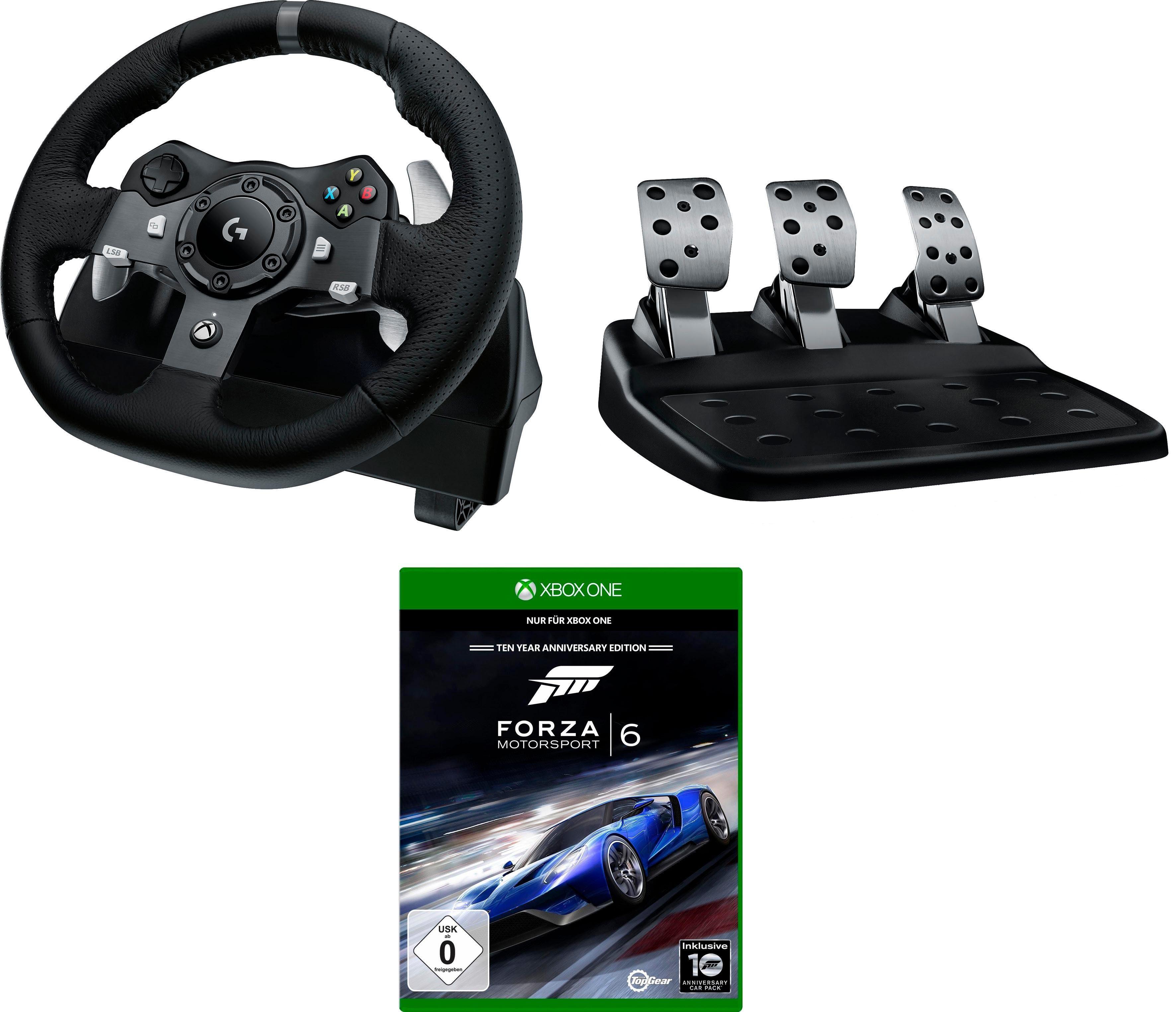 Logitech Games »G920 Driving Force Racing Wheel USB - EMEA inkl. Forza Motorsport 6 Xbox One« Lenkrad (Set)