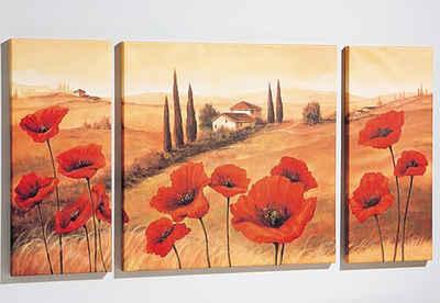 Home affaire Wandbild »Toskana«, 3tlg., 1x 70/70 cm, 2x 30/70 cm