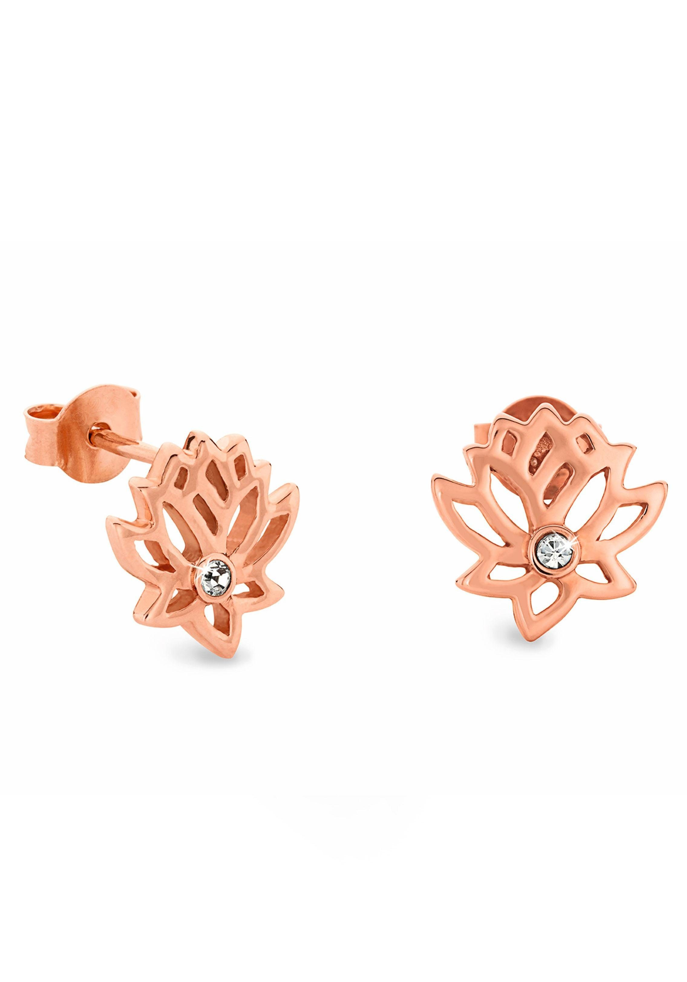 Noelani Paar Ohrstecker »Lotusblüte, 2021494« mit Swarovski® Kristallen