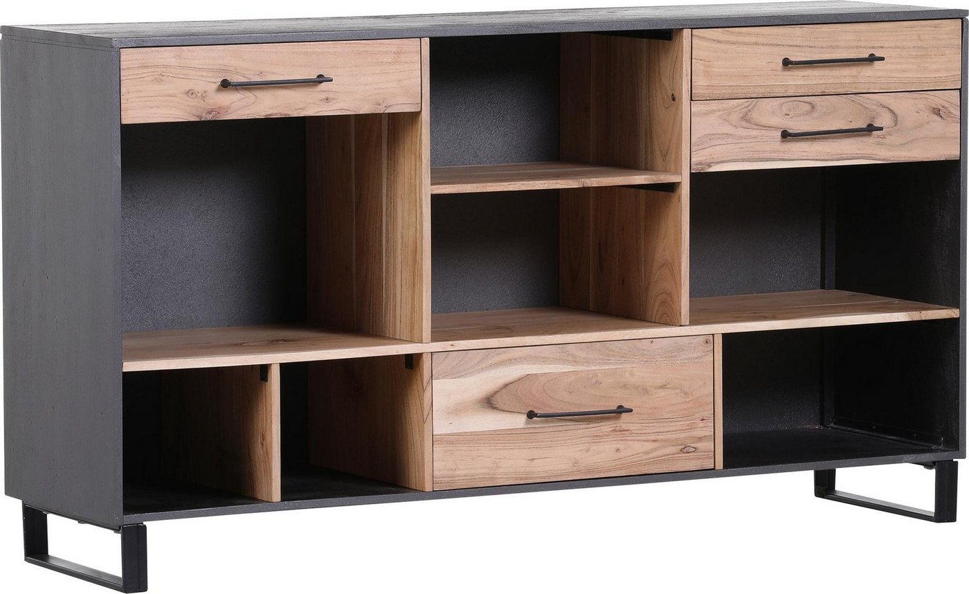Gutmann Factory Sideboard Cleveland aus Massivholz Akazie Breite 150 cm grau | 04048559928860