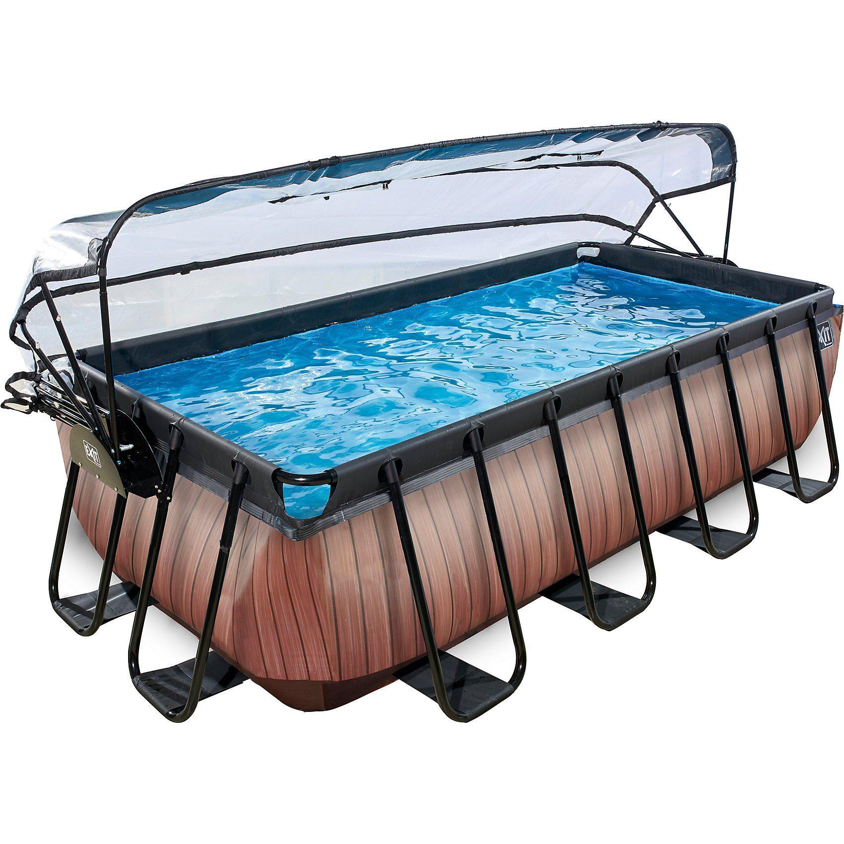 EXIT Frame Pool 4x2x1m mit Sonnendach, Holz Optik