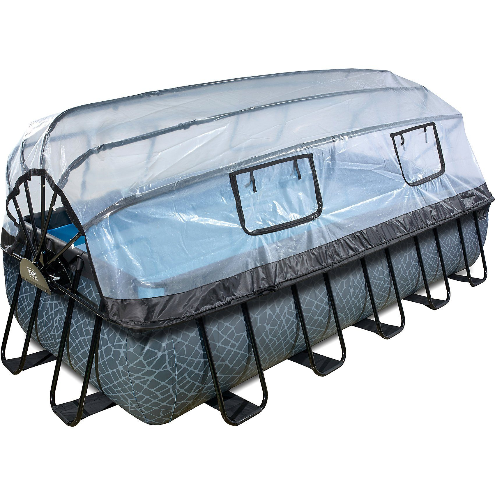 EXIT Frame Pool Premium 5,4x2,5x1m mit Sonnendach, grau