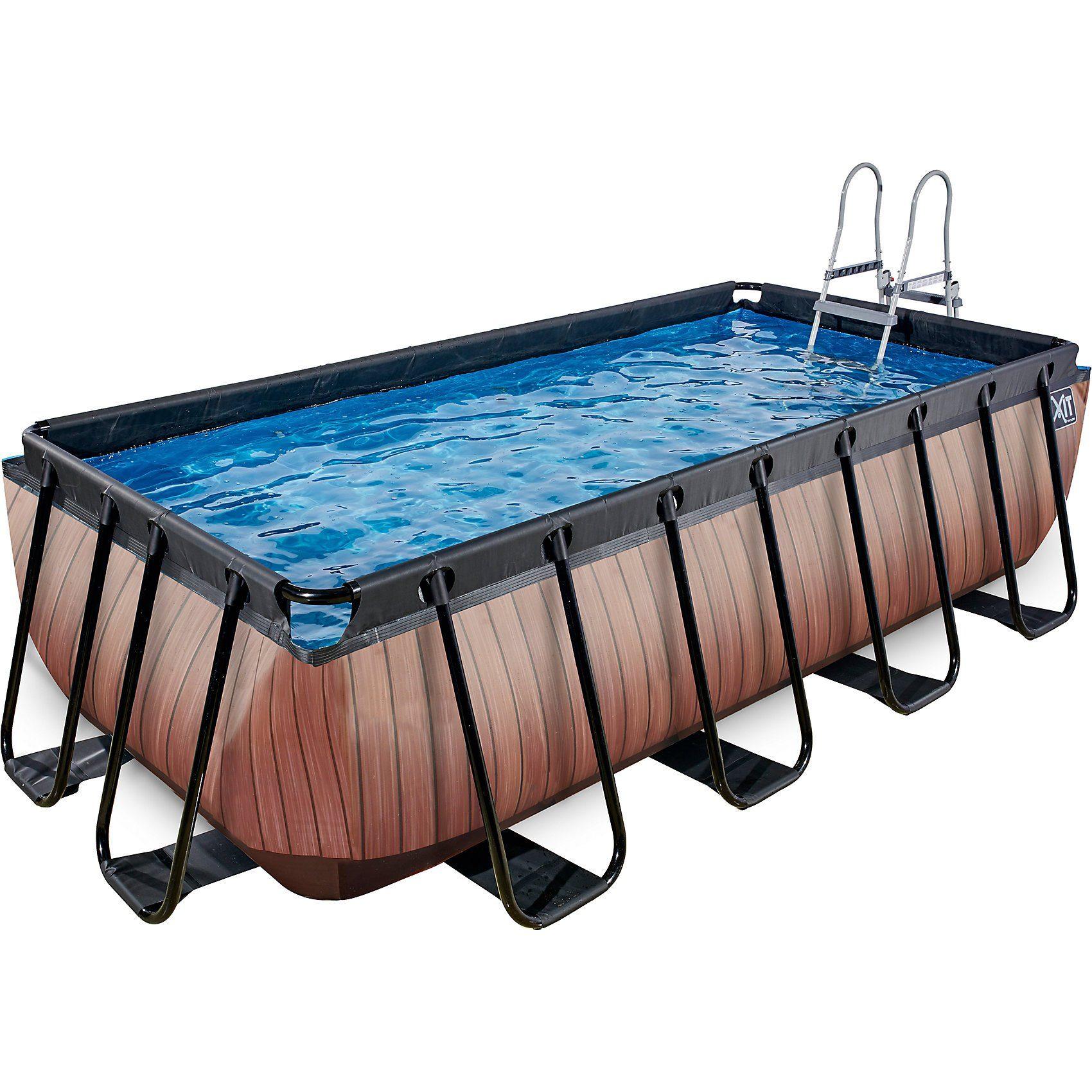 EXIT Frame Pool 4x2x1m Premium, Holz Optik