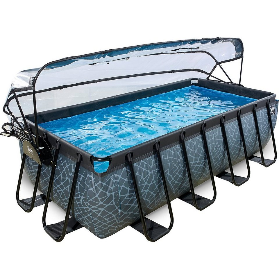Exit frame pool premium 4x2x1m mit sonnendach grau online for Swimming pool 4 eckig