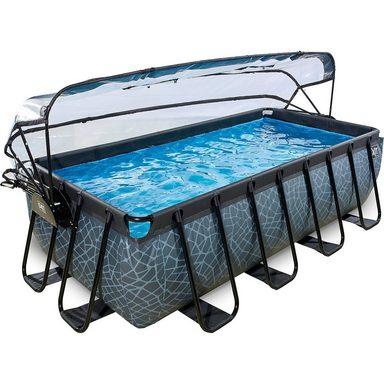 EXIT Frame Pool Premium 4x2x1m mit Sonnendach, grau