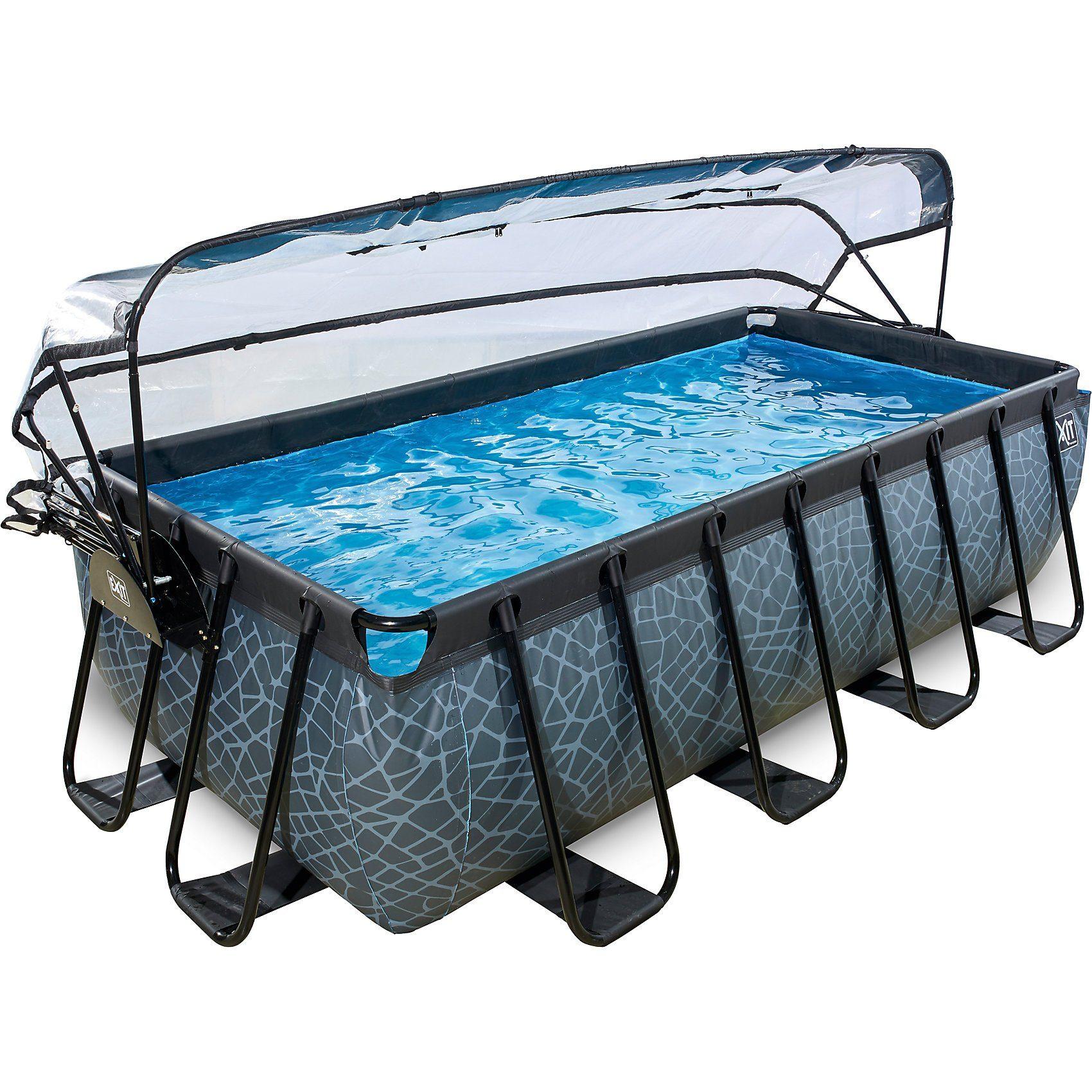 EXIT Frame Pool 4x2x1m mit Sonnendach, grau
