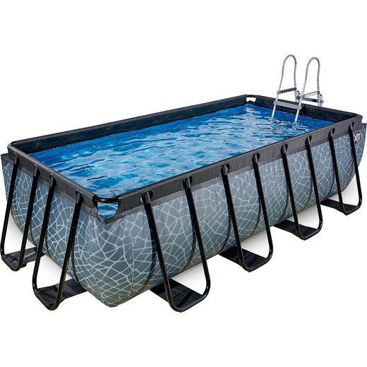 EXIT Frame Pool 4x2x1m, grau, inkl. Kartuschenfilter