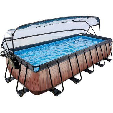 EXIT Frame Pool Premium 5,4x2,5x1m mit Sonnendach, Holz Optik