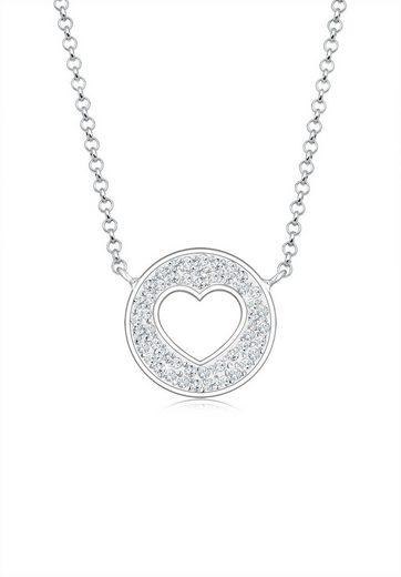 Elli Collierkettchen »Herz Münze Swarovski® Kristalle 925 Silber«
