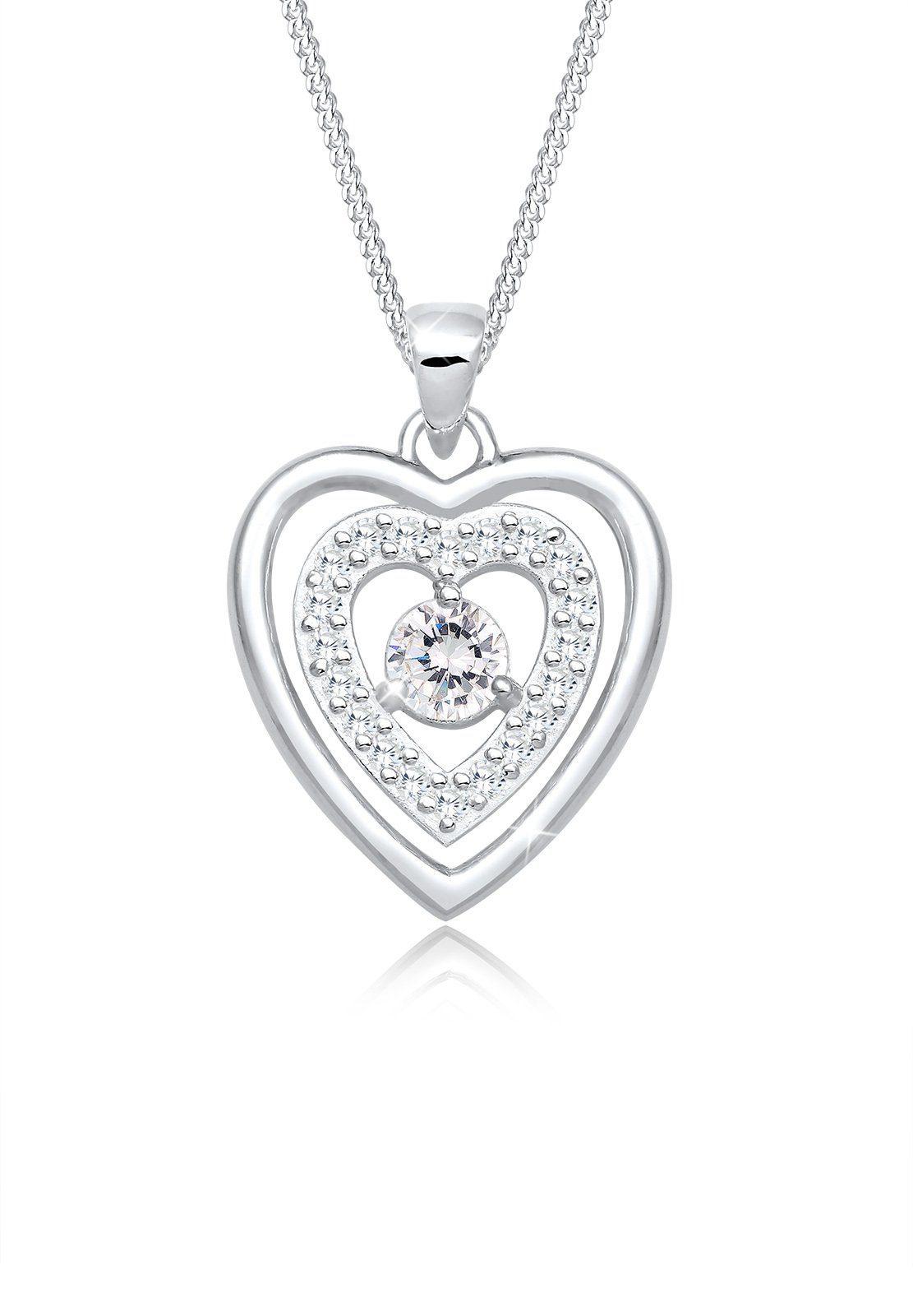 Elli Collierkettchen »Herz Liebe Zirkonia Medaillon 925 Silber«