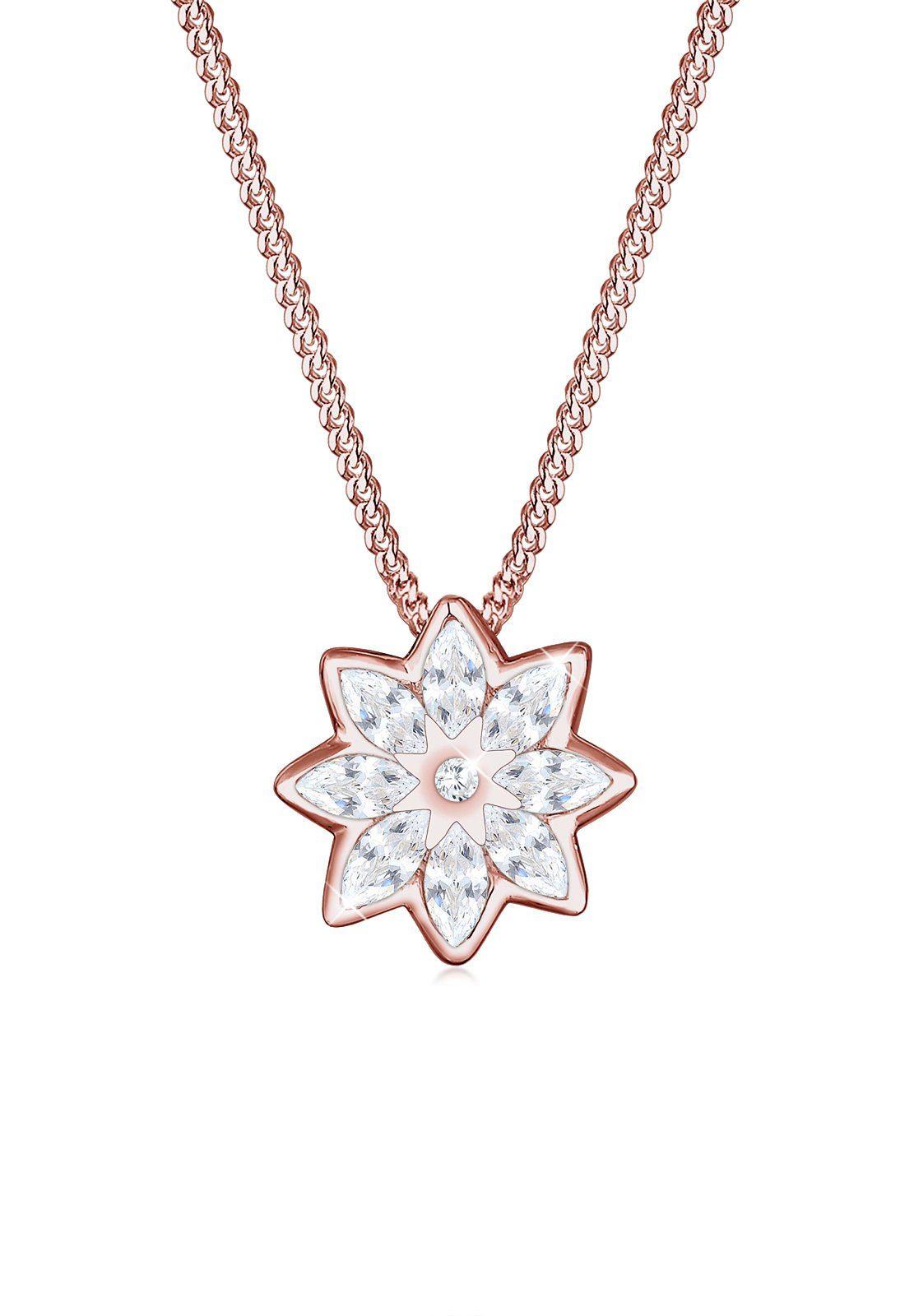 Elli Collierkettchen »Blume Floral Marquise Zirkonia 925 Sterling Silber«