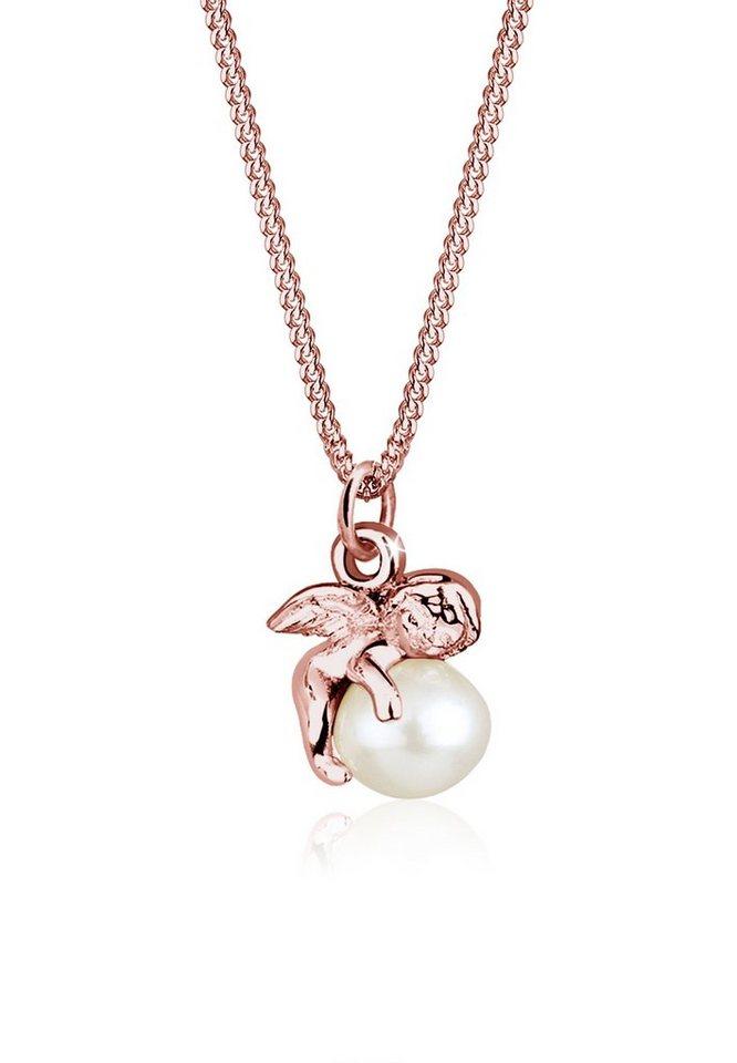 Elli Perlenkette »Anhänger Engel mit Süßwasserzuchtperle 925 Silber« | Schmuck > Halsketten > Perlenketten | Goldfarben | Elli